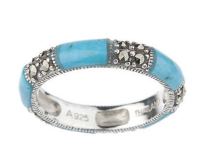 Suspicion-Infinity-Series-Sterling-Silver-Marcasite-Turquoise-Band-Ring-Sz-5-QVC
