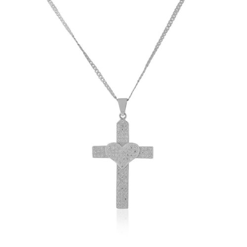 925 Sterling Silver CZ Love Heart Large Statement Cross Pendant Necklace