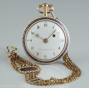 Barancourt-a-Paris-changierendes-GoldEmaille-Spindeluhr-Original-Chatelaine-1785