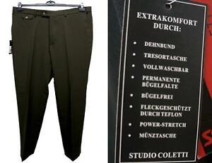 Nuovo-Taglie-Forti-Uomo-Pantalone-in-Stoffa-Power-Elasticizzato-D-Marrone