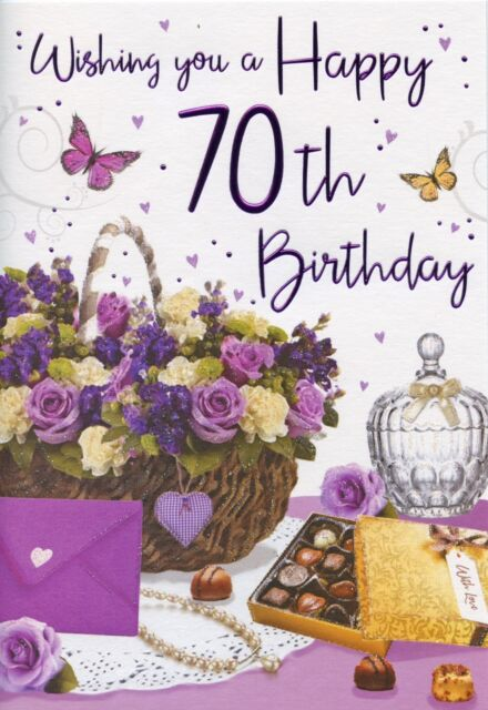 Large Female 70th Birthday Card Floral Colour Insert Regal Verse