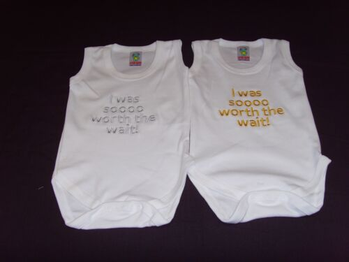 Funny Embroidered Personalised Vest Baby Shower Gift I was sooooo worth the wait