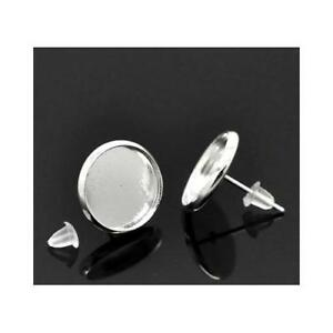 Packet-5-x-Silver-Plated-Copper-Coin-Earring-Cabochon-Settings-14-x-14mm-Y09500
