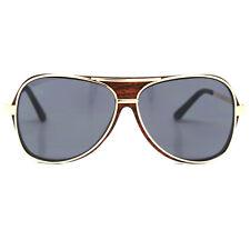 Trendy Fashion Wood Grain Brand Designer Rivets Aviator Sunglasses For Men Women