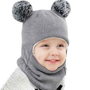 1e948c5d1 Details about Kids Warm Winter Caps Knitted Beanies Boys Girls Baby Bonnets  Scarf Headwear Set