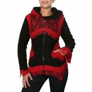 Kunst Elfin Details Jacket Goa Jacket Women's Gothic Fleece Magie Hood and Hippie about Und rCtdxshQ