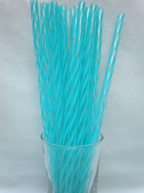 """Reusable Straws Clear Swirly Colors Acrylic 9"""" Straws No Ring Cleaning Brush"""