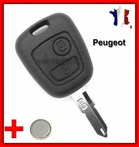 rks key shell peugeot 106 206 206 206cc 306 107 207 307 2 buttons battery. Black Bedroom Furniture Sets. Home Design Ideas