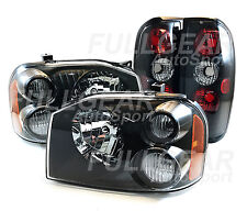 BLACK CLEAR LENS HEADLIGHTS & BLACK TAIL LIGHTS FOR NISSAN FRONTIER 2001-2004