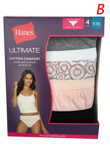 "Hanes ULTIMATE 4-Pack Women/'s HI-CUT Size 9//2XL /""SOFT COTTON COMFORT/"" 43KUB3 NEW"
