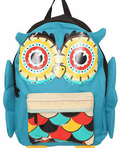 Loungefly Colorful Turquoise Lucky Owl Cute Ears Feet & Wings School Backpack
