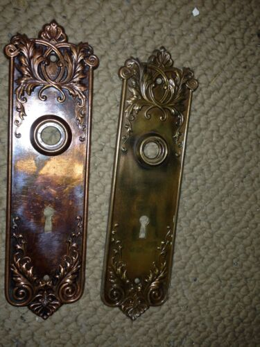 H 23 Brass And Steel Ornamental Passage Set Back Plates 19 Available Antique