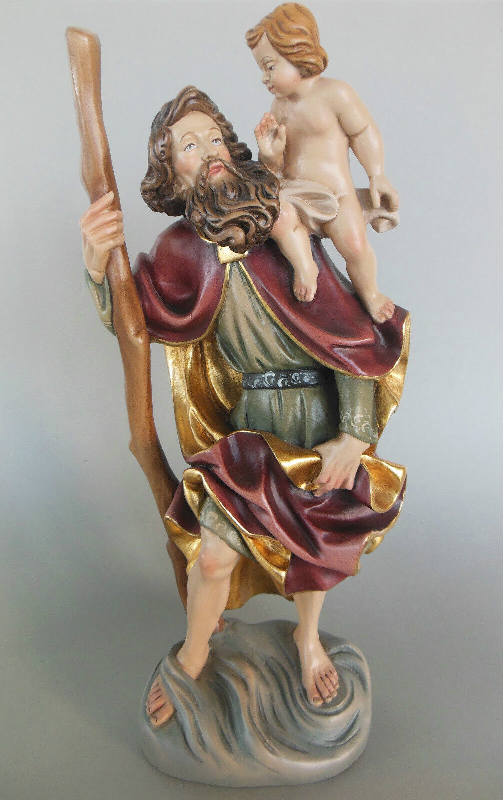 Heiliger Christopherus ca. 38 cm hoch,Holz geschnitzt bemalt Namenspatron Nr. IE
