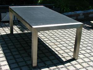 Gartentisch Outdoor Tisch Terrassentsich Granit Naturstein Dunkel