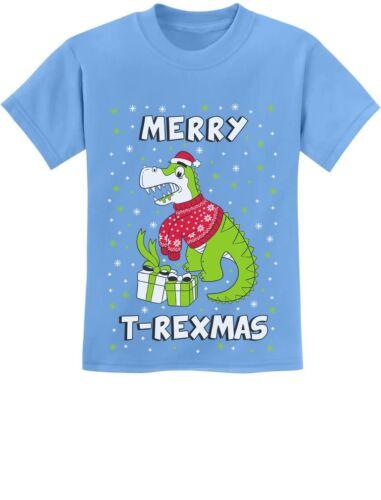 Ugly Christmas Dinosaur Gift Youth Kids T-Shirt Raptor Merry T-rex Xmas