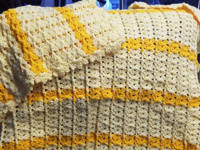 New! Handmade Crochet Blanket Throw Afghan -38x43 - Yellow, Butterscotch
