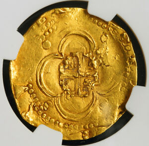 1598-Spain-Philip-II-Certified-Gold-4-Escudos-Cob-Coin-Seville-NGC-AU-53