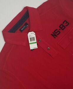 Nautica-Brand-New-Mens-Red-L-Slim-Fit-Polo-Shirt-100-Cotton