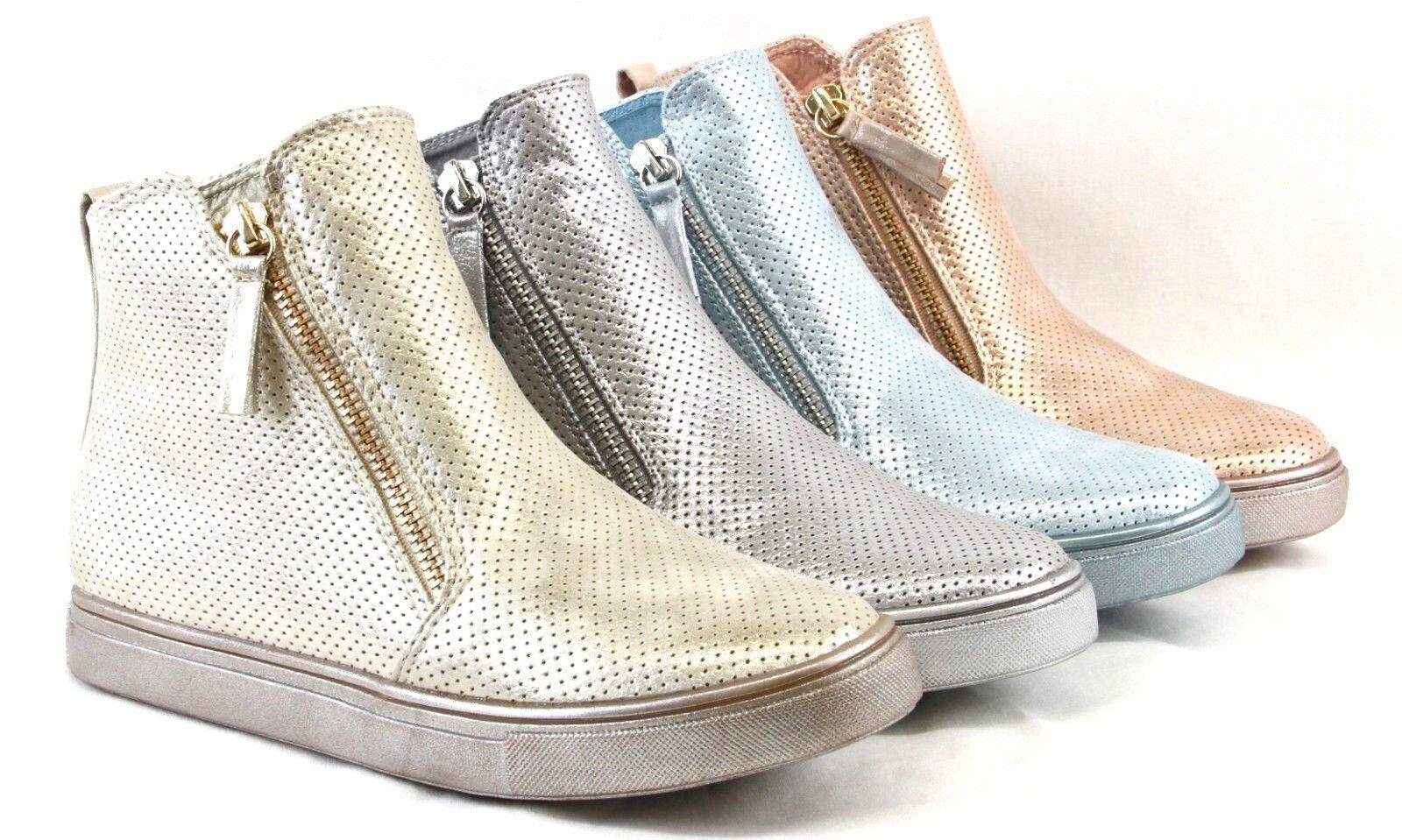 Cute Glitter Ankle Sneaker Booties Flat Heels High Top Design Lightweight shoes