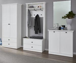 Details Zu Garderobe Set Weiss Flur Garderobenset 4 Tlg Komplett Diele Landhaus Mobel Baxter