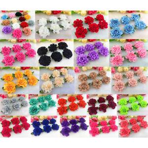 10-50-Pcs-Satin-Ribbon-Carnation-Flower-Leaf-Wedding-Appliques-Sewing-DIY-Decor