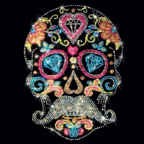 Rhinestone Studs Sugar Skull T Shirt Mustache Gothic Los Muertos