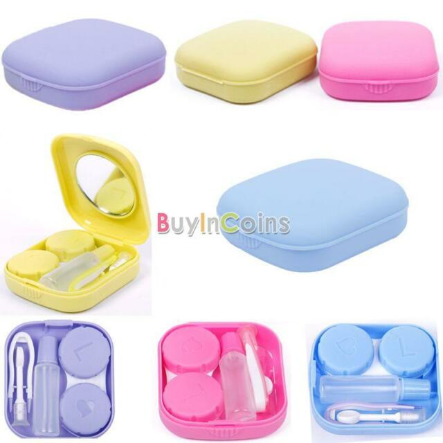 Cute Pocket Mini Contact Lens Case Travel Kit Easy Carry Mirror Container Holder