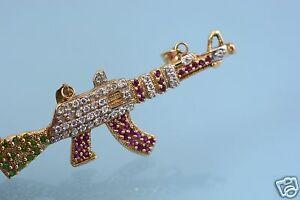 14k YG 3.83CTs Diamond Emerald & Rube Paved AK47 Gun Charm, Mint