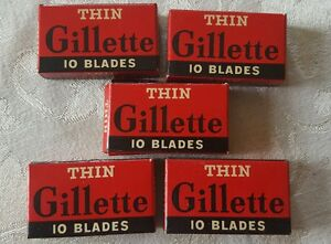 Vintage-Lot-of-5-packs-10-blades-THIN-GILLETTE-Razor-Blades-NOS-50-Blades