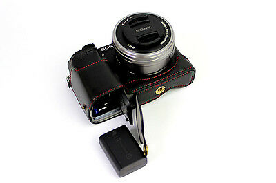 Black camera bag case grip for a6300 a6000, half leather bottom-open New