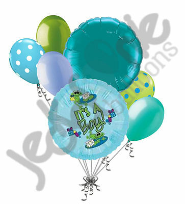 7 pc It's a Baby Boy Froggy Fun Balloon Bouquet Party Decoration Shower Frog