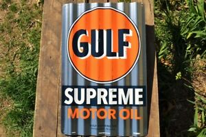 Details about Gulf Supreme Motor Oil Can Corrugated Aluminium Metal Sign -  Gasoline - Gas