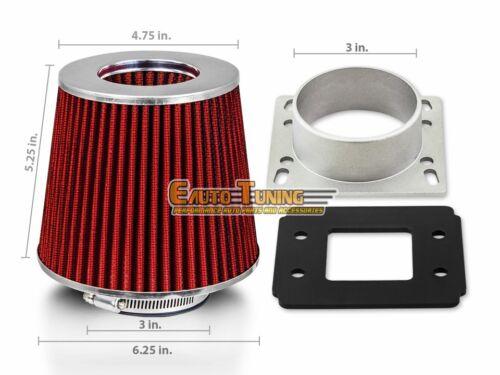 RED Filter For 91-95 Previa 2.4L L4 Mass Air Flow Sensor Intake Adapter