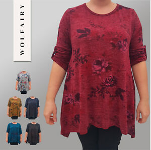 4acb375237d Image is loading Italian-Top-Tunic-Lagenlook-Acrylic-Floral-Long-Sleeve-