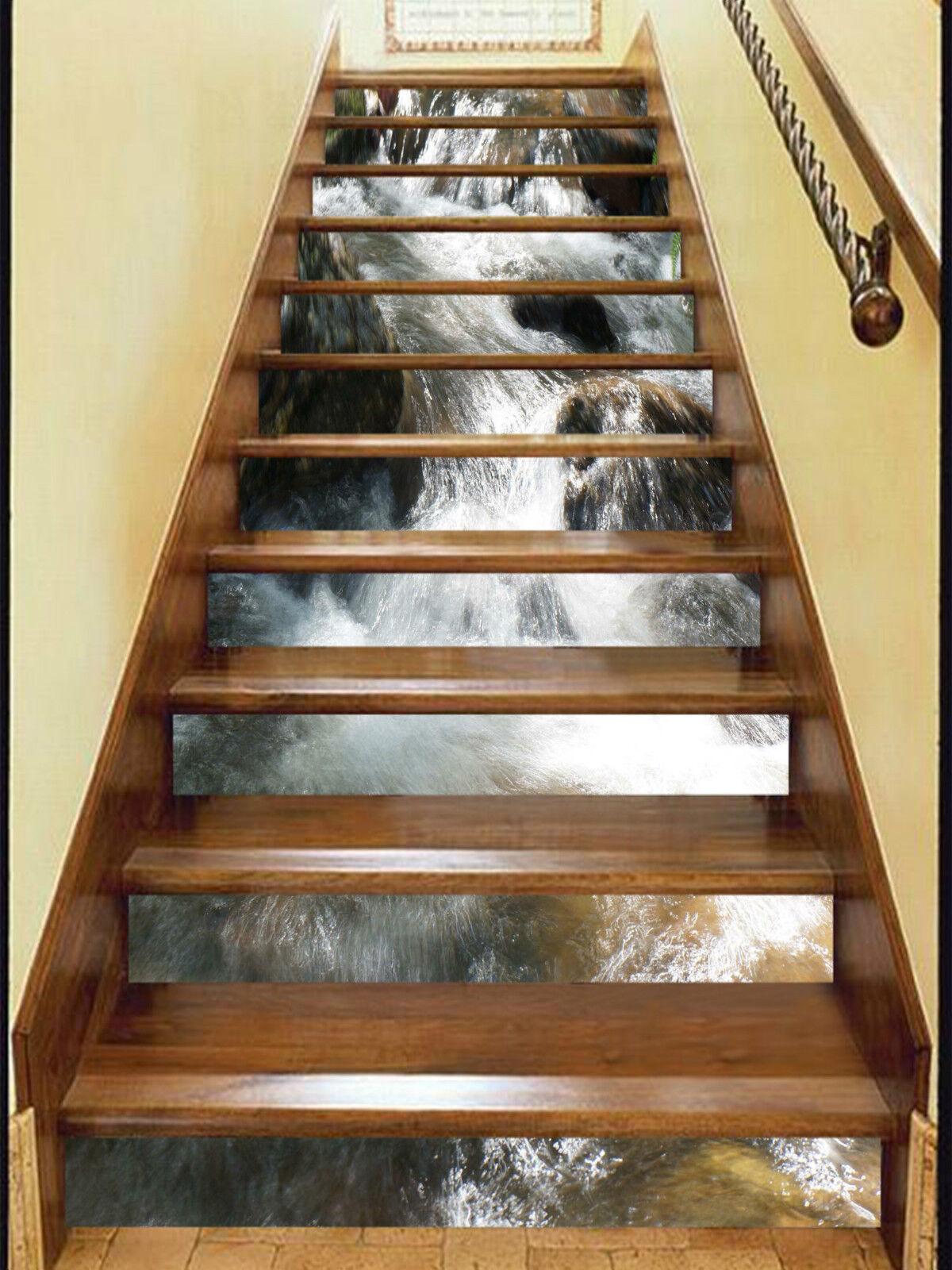 3D Flusswasser 2011 Stair Risers Dekoration Fototapete Vinyl Aufkleber Tapete DE
