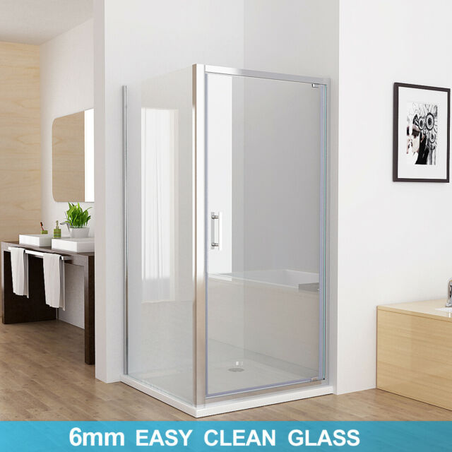 Shower Enclosure Pivot Hinged Door With Side Panel 6mm Nano Gl 760mm