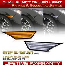 Dark Smoke Led Side Marker Lights Switchback Signal Lamp For 16 21 Honda Civic