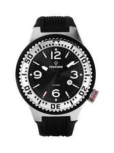 POSEIDON-Unisex-Armbanduhr-L-Analog-Silikonband-UP00398-Schwarz-Silb-UVP-119