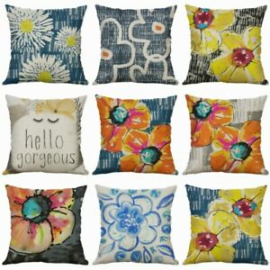 Printing-flowers-Cover-18-034-Home-Pillows-case-Watercolor-Decor-Cotton-Linen