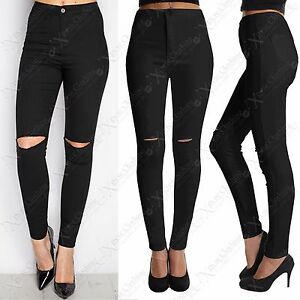 57c5593bb LADIES BLACK RIPPED KNEE SKINNY JEANS WOMENS HIGH WAISTED RIP CUT ...
