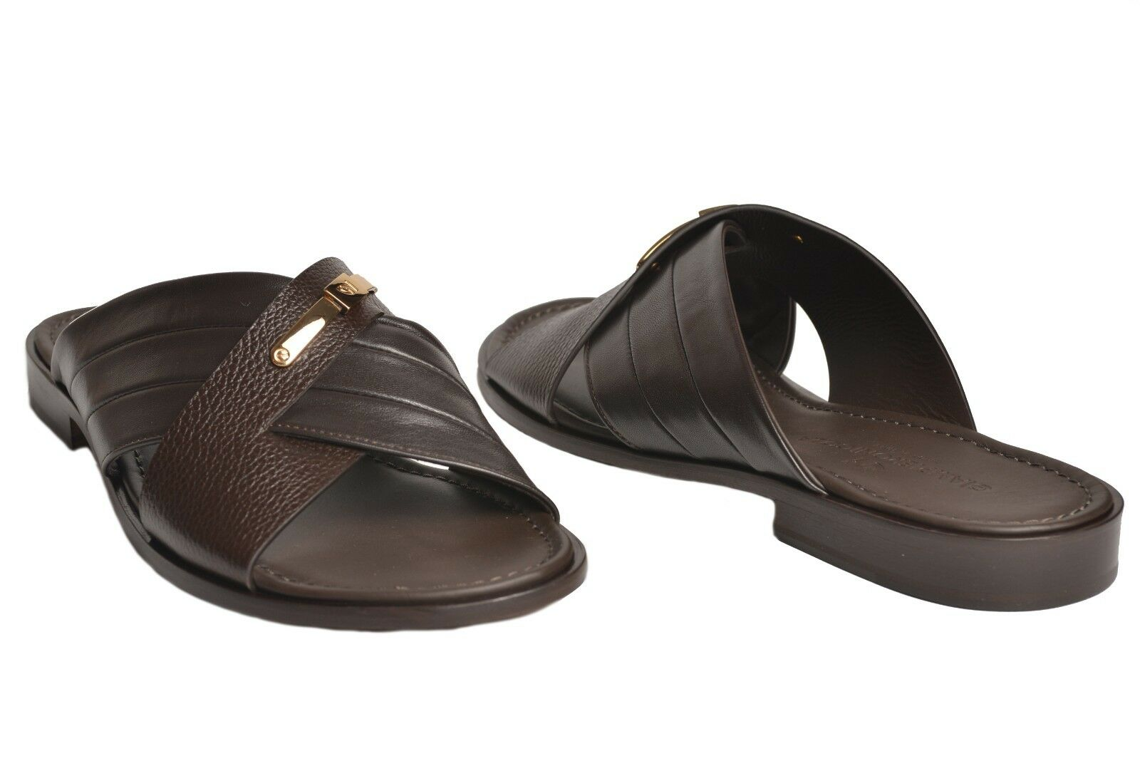 Giampieronicola 5538 italian mens brown leather criss cross sandals