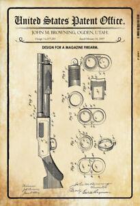 Ee-uu-Patent-Pumpgun-Shotgun-1897-Letrero-de-Metal-Tin-Sign-20-X-30CM