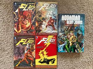Flash-Graphic-Novel-lot-TPB-Vol-1-2-3-4-New-52-Aquaman-Johns-Omnibus-Batman-DC