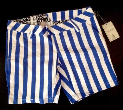 NEW VOLCOM Stripe Shorts Size 0 Blue White Stretch Straight Leg Flat Pants XS