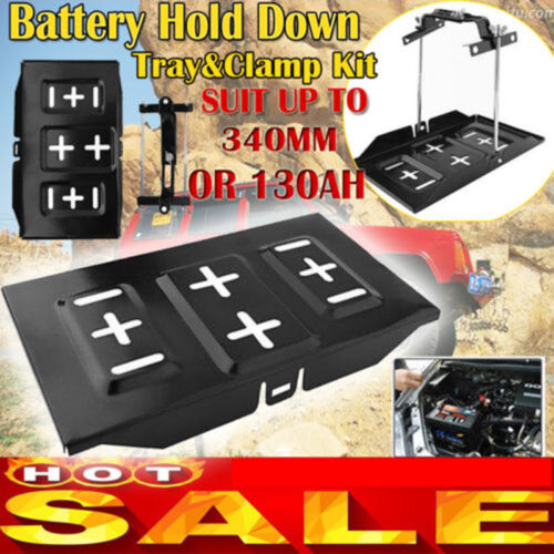 Car Storage Battery Holder Adjustable Stabilizer Metal Tray Hold Down Clamp