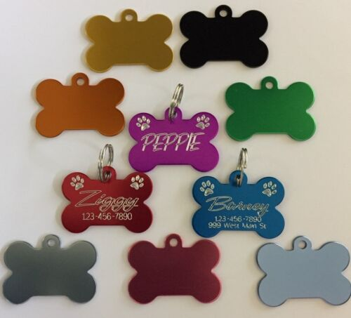 Custom Engraved Bone Paw Print Pet Tag Dog Cat ID Name Animal 10 COLORS