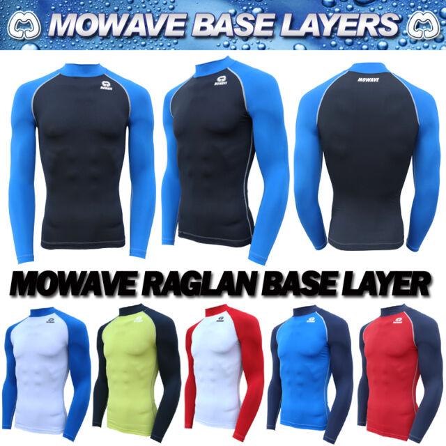 Mowave compression raglan athletic baselayer sports under inner shirts rashguard