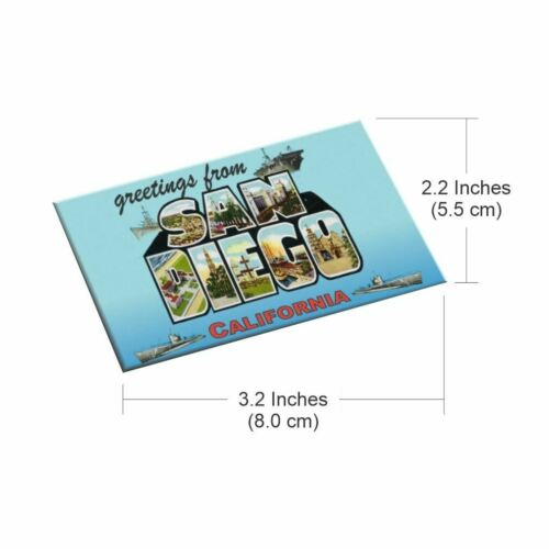 Greetings from San Diego Magnet Classic Tin Magnet 2 x 3 Inches