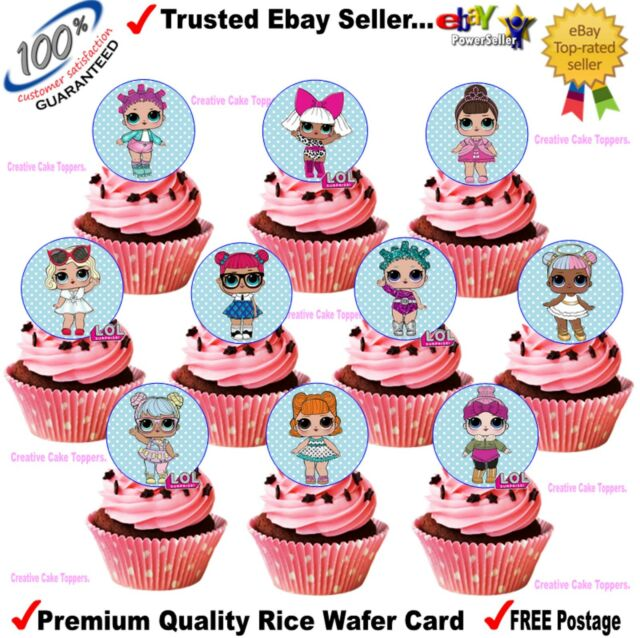 Edible Rice Wafer Card Lol Surprise Dolls Birthday Cup Cake Toppers