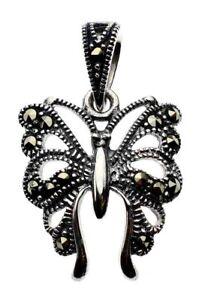 Schmetterling-Markasit-Anhaenger-Jugendstil-925er-Silber-Symbol-Schmuck-NEU